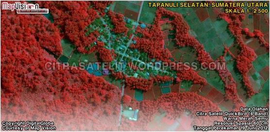 Data Olahan Citra Satelit QuickBird 4 Band Warna Merah Semu Wilayah Tapanuli Selatan - Sumatera Utara