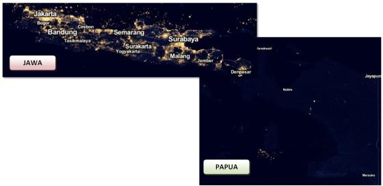 Gambar 1. Kenampakan Pulau Jawa dan Papua di Black Marble