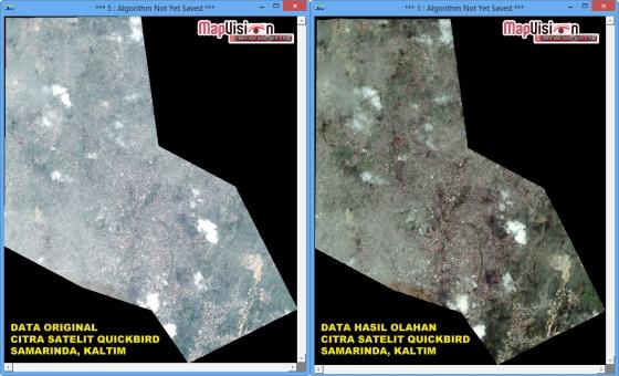 Gambar 1. Tampilan 2D Data Original dan Data Hasil Olahan Citra Satelit QuickBird Wilayah Samarinda, Kalimantan Timur