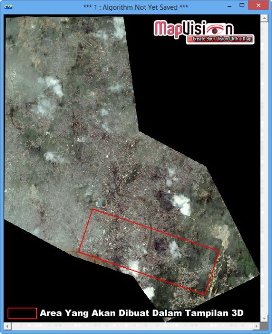 Gambar 2. Kotak Merah Menunjukkan Tampilan Area Tersebut Akan Dibuat Dalam Tampilan 3D