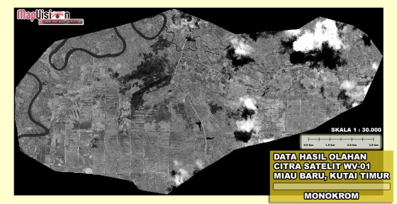 Gambar 2. Hasil Penajaman Kontras Warna dari Data Original Citra Satelit WorldView-1 Area Miau Baru, Kutai Timur