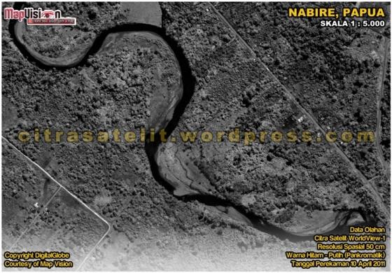 Data Olahan Citra Satelit WorldView-1 Warna Hitam-Putih Wilayah Nabire - Papua