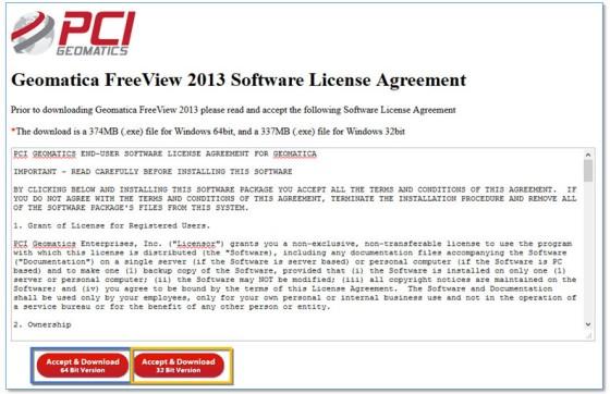 Gambar 2. EULA dari Software Geomatica FreeView 2013