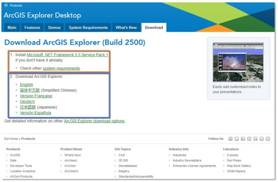Gambar 1. Tampilan Halaman Pengunduhan ArcGIS Explorer Desktop 2500