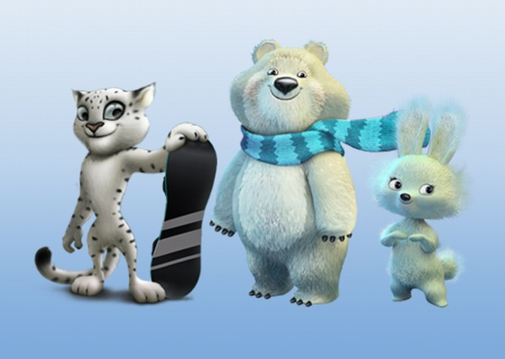 Tiga Maskot Olimpiade Musim Dingin Ke-22 di Sochi, Russia, yaitu Macan Tutul, Beruang Kutub, dan Kelinci. Image Credit : russiatrek.org