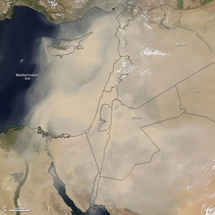 citra satelit badai pasir, badai pasir, badai pasir di timur tengah, citra satelit badai pasir di timur tengah, citra satelit modis, satelit aqua, penyebab badai pasir, penyebab badai pasir di timur tengah, nasa