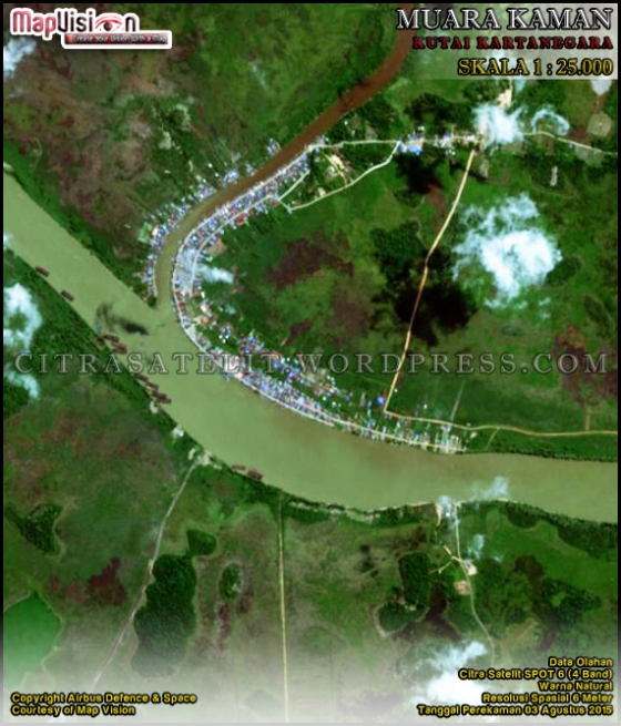 Data Olahan Citra Satelit SPOT 6 (4 Band) Warna Natural Wilayah Muara Kaman - Kutai Kartanegara Skala 1 : 25.000